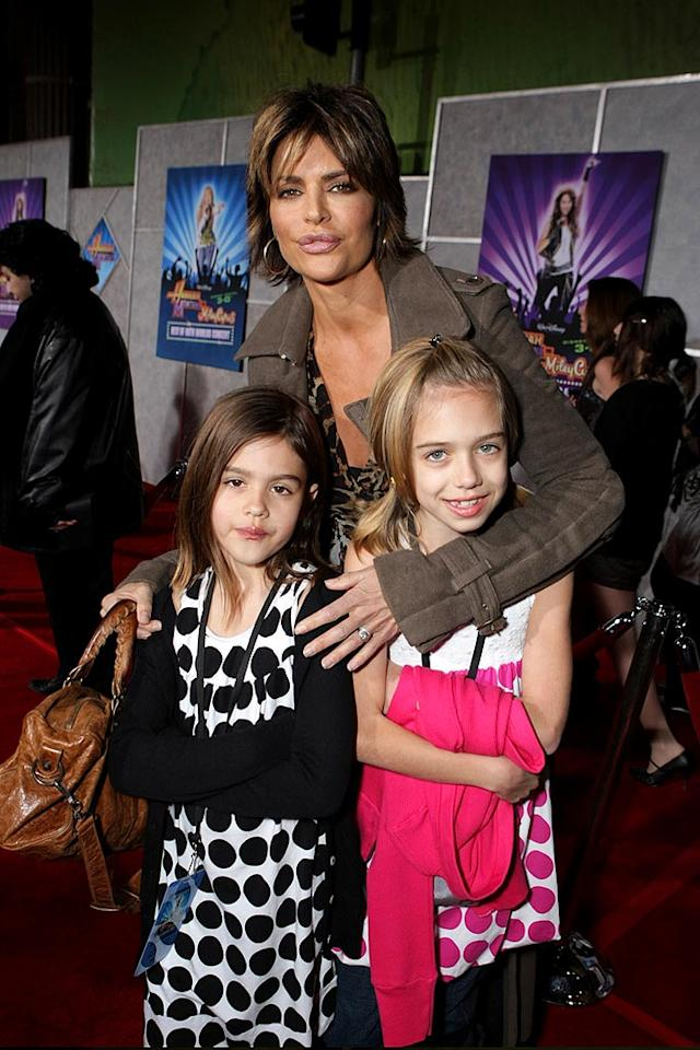 """Lisa Rinna brings her daughters Amelia Gray (6) and Delilah Belle (9) to the premiere screening of """"Hannah Montana and Miley Cyrus: Best of Both Worlds Concert"""" in 3D. Imagine getting a goodnight kiss from Lisa's lips! Eric Charbonneau/<a href=""""http://www.wireimage.com"""" target=""""new"""">WireImage.com</a> - January 17, 2008"""
