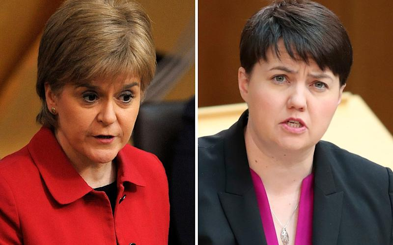 Nicola Sturgeon has accused Ruth Davidson of being obsessed with independence - PA