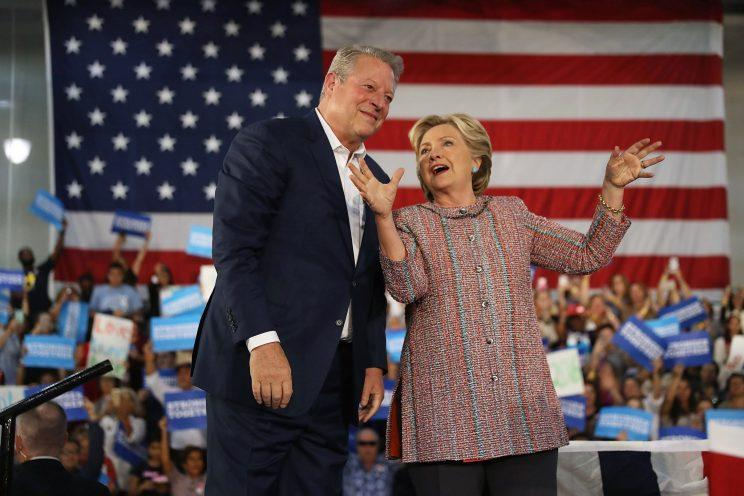 MIAMI, FL - OCTOBER 11: Democratic presidential nominee former Secretary of State Hillary Clinton and former Vice President Al Gore campaign together at the Miami Dade College - Kendall Campus, Theodore Gibson Center on October 11, 2016 in Miami, Florida. Clinton continues to campaign against her Republican opponent Donald Trump with less than one month to go before Election Day. (Photo by Joe Raedle/Getty Images)
