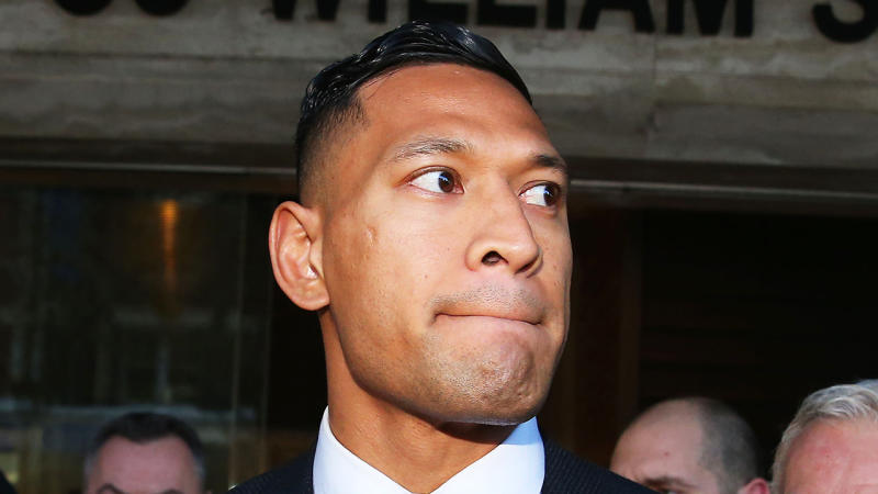 Israel Folau speaks to media following his conciliation meeting with Rugby Australia at Fair Work Commission on June 28, 2019 in Sydney, Australia. (Photo by Don Arnold/Getty Images)