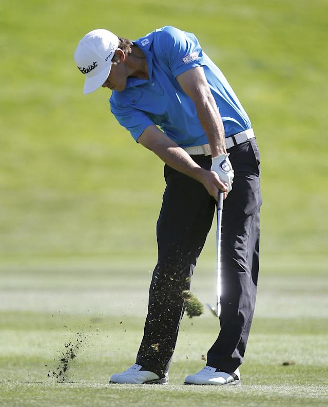 Brooks Koepka hits from the 8th fairway during the final round of the Frys.com Open golf tournament, Sunday, Oct. 13, 2013, in San Martin, Calif. (AP Photo/Tony Avelar)