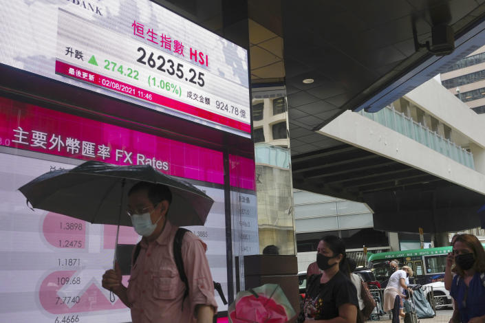 A man walks past a bank's electronic board showing the Hong Kong share index at Hong Kong Stock Exchange in Hong Kong Monday, Aug. 2, 2021. Asian stocks have started the week higher, even as China reported a slowdown in manufacturing activity and countries in the region continue to be hammered by the delta variant. (AP Photo/Vincent Yu)