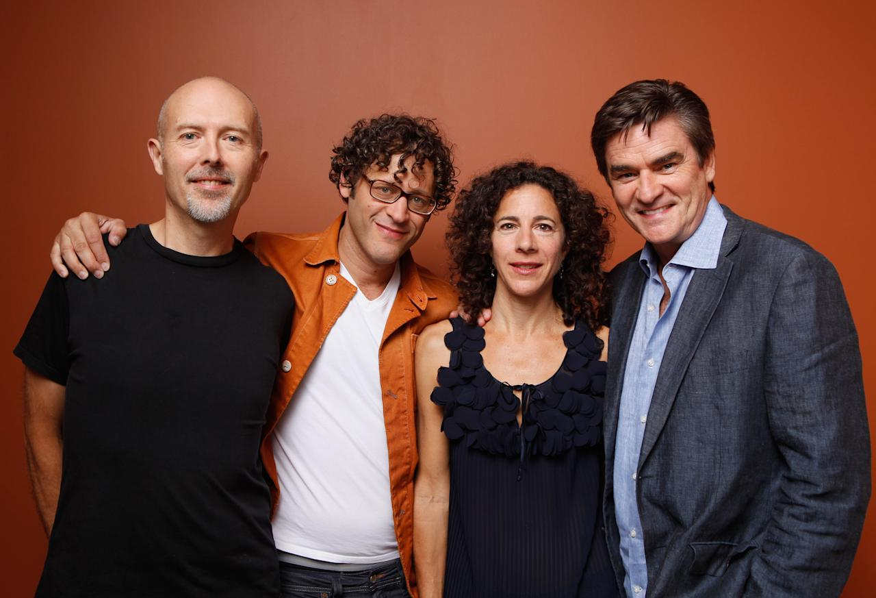 """TORONTO, ON - SEPTEMBER 12:  (L-R) Editor Greg West, director/writer Jamie Kastner producer Diana Warmé and actor Peter Keleghan of """"The Secret Disco Revolution"""" pose at the Guess Portrait Studio during 2012 Toronto International Film Festival on September 12, 2012 in Toronto, Canada.  (Photo by Matt Carr/Getty Images)"""