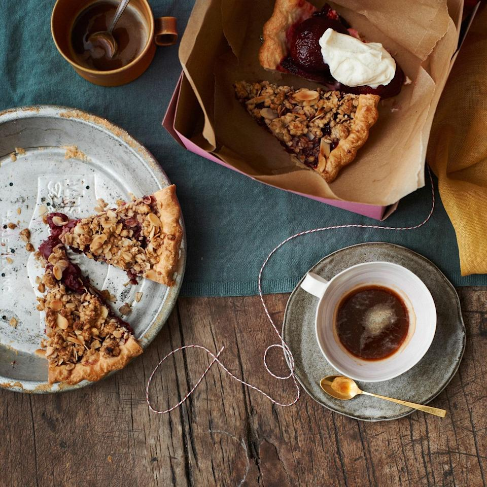 "This crumble-topped pie stars the flavors of an <a href=""https://www.epicurious.com/recipes/food/views/old-fashioned-235804?mbid=synd_yahoo_rss"" rel=""nofollow noopener"" target=""_blank"" data-ylk=""slk:Old Fashioned cocktail"" class=""link rapid-noclick-resp"">Old Fashioned cocktail</a>, right down to the bourbon and orange peel. And the secret weapon: jarred sour cherries (just think of all those cherries you won't have to pit!). <a href=""https://www.epicurious.com/recipes/food/views/cherry-bourbon-pie-51108280?mbid=synd_yahoo_rss"" rel=""nofollow noopener"" target=""_blank"" data-ylk=""slk:See recipe."" class=""link rapid-noclick-resp"">See recipe.</a>"