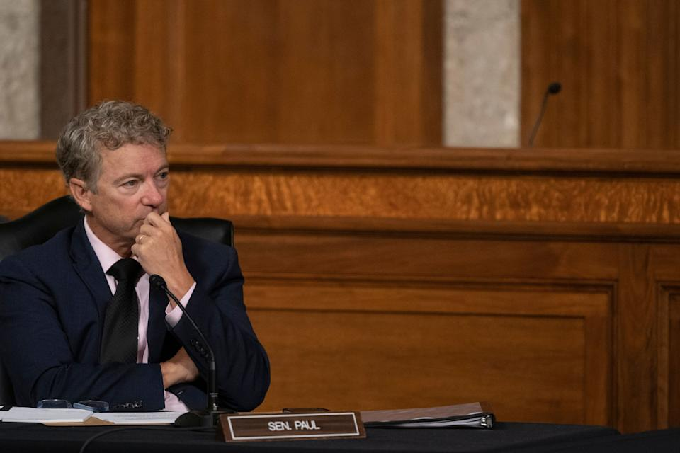 Sen. Rand Paul (R-Ky.) listens during the Senate hearing on the federal government's response to COVID-19 in Washington on Wednesday. (Photo: ASSOCIATED PRESS)