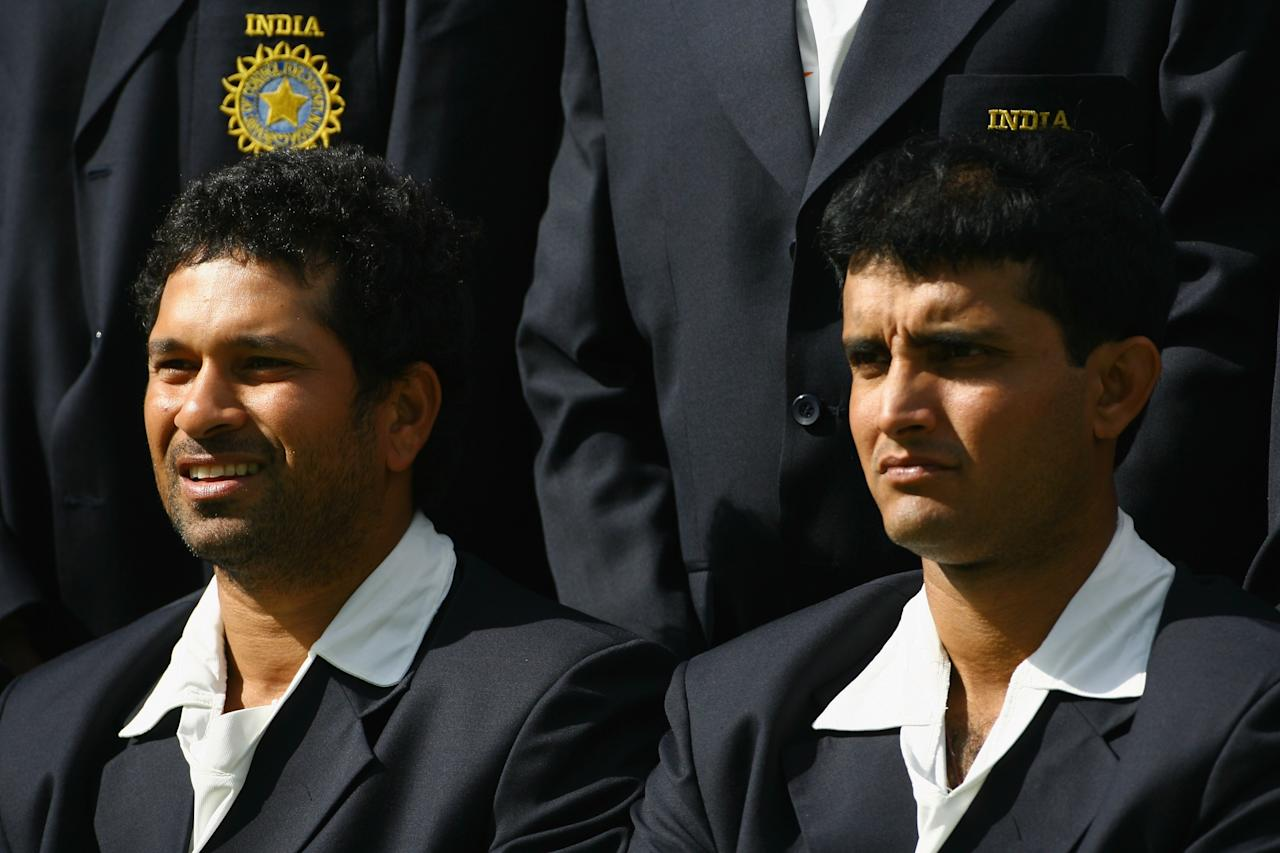 LONDON - JULY 17: Sachin Tendulkar and Sourav Ganguly of India look on during the India Nets session at Lords Cricket Ground on July 17, 2007 in London England  (Photo by Tom Shaw/Getty Images)