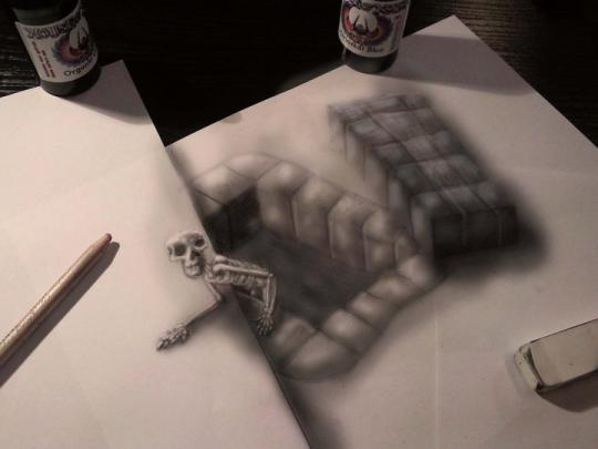 Spooky: A clever combination of perspective and light brings Ramon's skeleton drawing to life (Ramon Bruin)