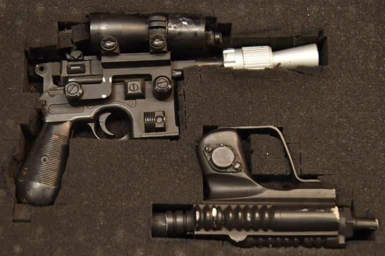 "Han Solo's BlasTech DL-44 blaster used by actor Harrison Ford in the filming of ""Return of the Jedi"" is expected to fetch $300,000 to $500,000 at auction next month in Las Vegas"