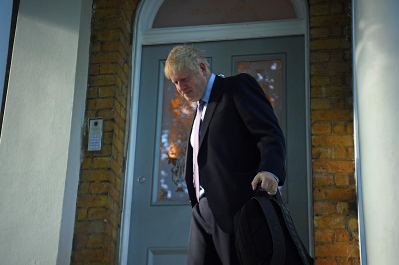 Boris Johnson leaving his home in south London, ahead of ballots which will see the contenders for the Conservative party leadership reduced to two by the end of the day.