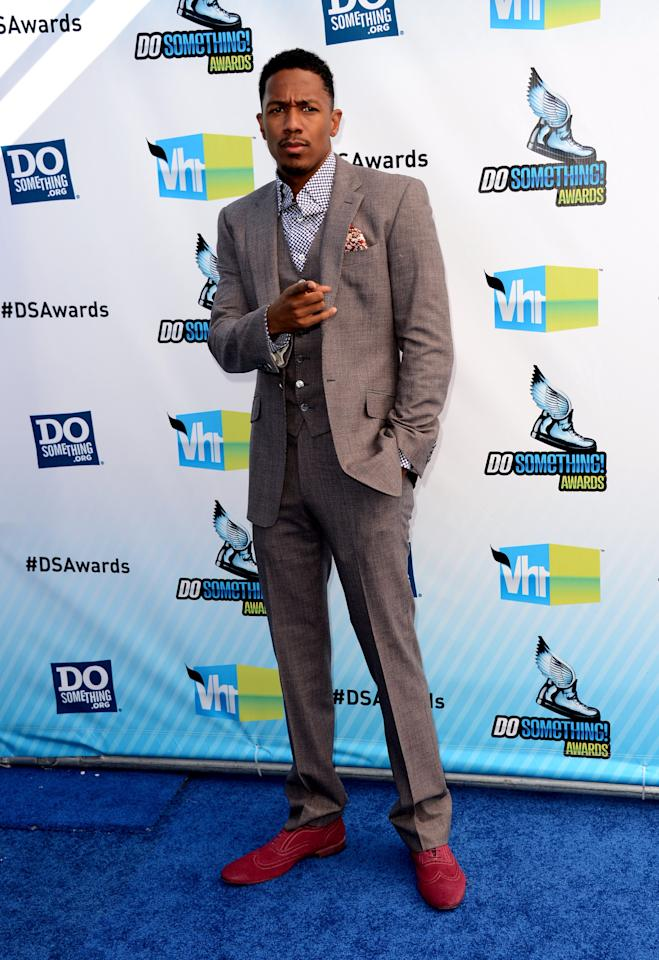 SANTA MONICA, CA - AUGUST 19:  Actor Nick Cannon arrives at the 2012 Do Something Awards at Barker Hangar on August 19, 2012 in Santa Monica, California.  (Photo by Jason Merritt/Getty Images)