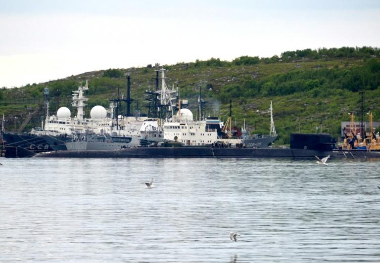 An unidentified submarine seen in the city of Severomorsk, in Russia, on July 2