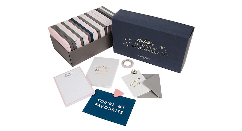 """<p>Stationary fiends: this is the calendar for you. Packed full of luxe stationary including a personalised notebook, luxury pen, and stylish Martha Brook paper goods, it will definitely up your desk game. Available from <a rel=""""nofollow noopener"""" href=""""https://www.notonthehighstreet.com/marthabrook/product/24-days-of-stationery-advent-calendar"""" target=""""_blank"""" data-ylk=""""slk:Not On The High Street"""" class=""""link rapid-noclick-resp""""><em>Not On The High Street</em></a>. </p>"""