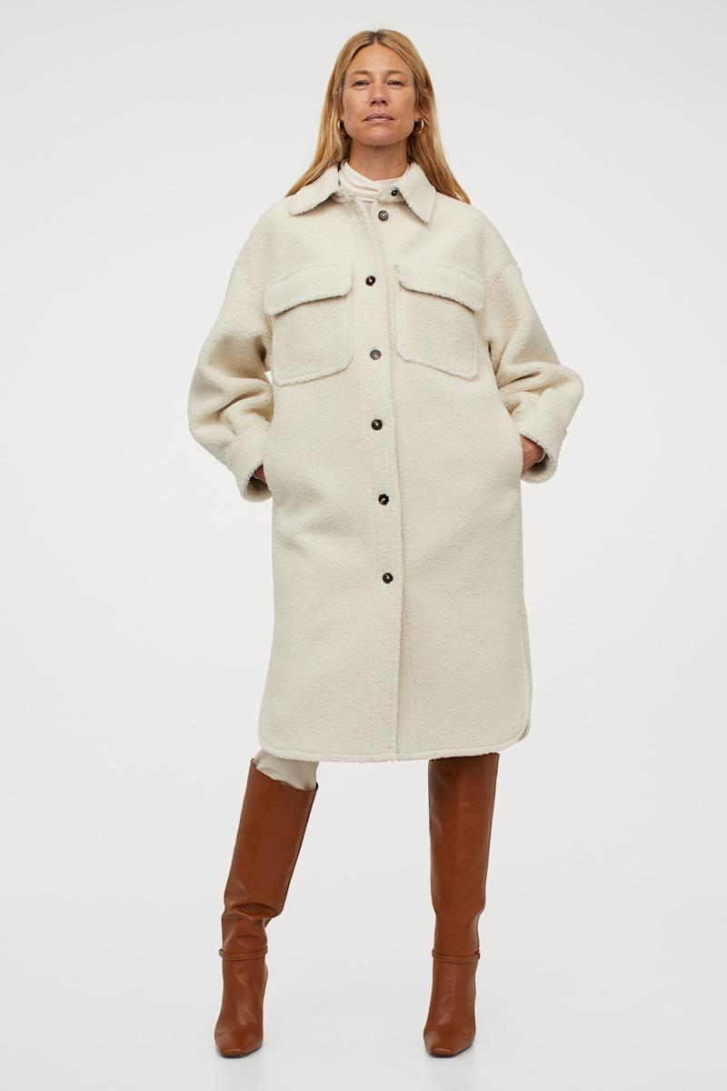 Long Faux Shearling Shacket