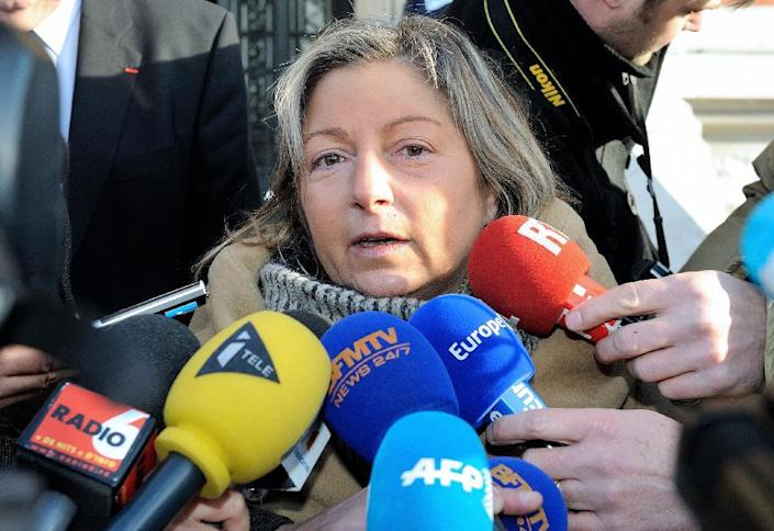 Calais Mayor Natacha Bouchart speaks to the press outside of City Hall on December 12, 2013, in France (AFP Photo/Philippe Huguen)