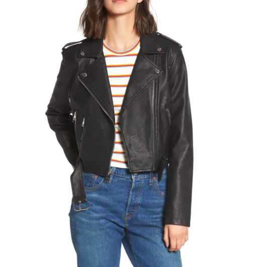 """<p><strong>LEVI'S</strong></p><p>nordstrom.com</p><p><strong>$56.17</strong></p><p><a href=""""https://go.redirectingat.com?id=74968X1596630&url=https%3A%2F%2Fwww.nordstrom.com%2Fs%2Flevis-faux-leather-fashion-belted-moto-jacket%2F4945242&sref=https%3A%2F%2Fwww.redbookmag.com%2Flife%2Fg34807129%2Fnordstrom-black-friday-cyber-monday-deals-2020%2F"""" rel=""""nofollow noopener"""" target=""""_blank"""" data-ylk=""""slk:Shop Now"""" class=""""link rapid-noclick-resp"""">Shop Now</a></p><p><strong><del>$120</del> $56.17 (53% off)</strong></p><p>You can't go wrong with a leather jacket, and this Levi's one is a great layering piece for the colder months ahead. </p>"""