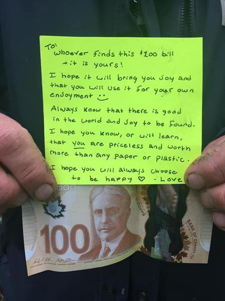 Mysterious $100 bill, life-affirming note delights Nova Scotia town