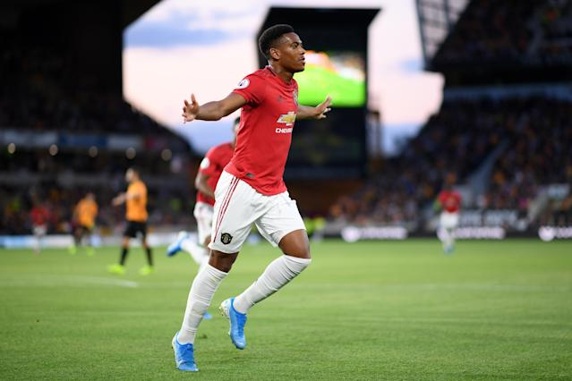 Anthony Martial celebrates opening the scoring at Molineux. (Credit: Getty Images)