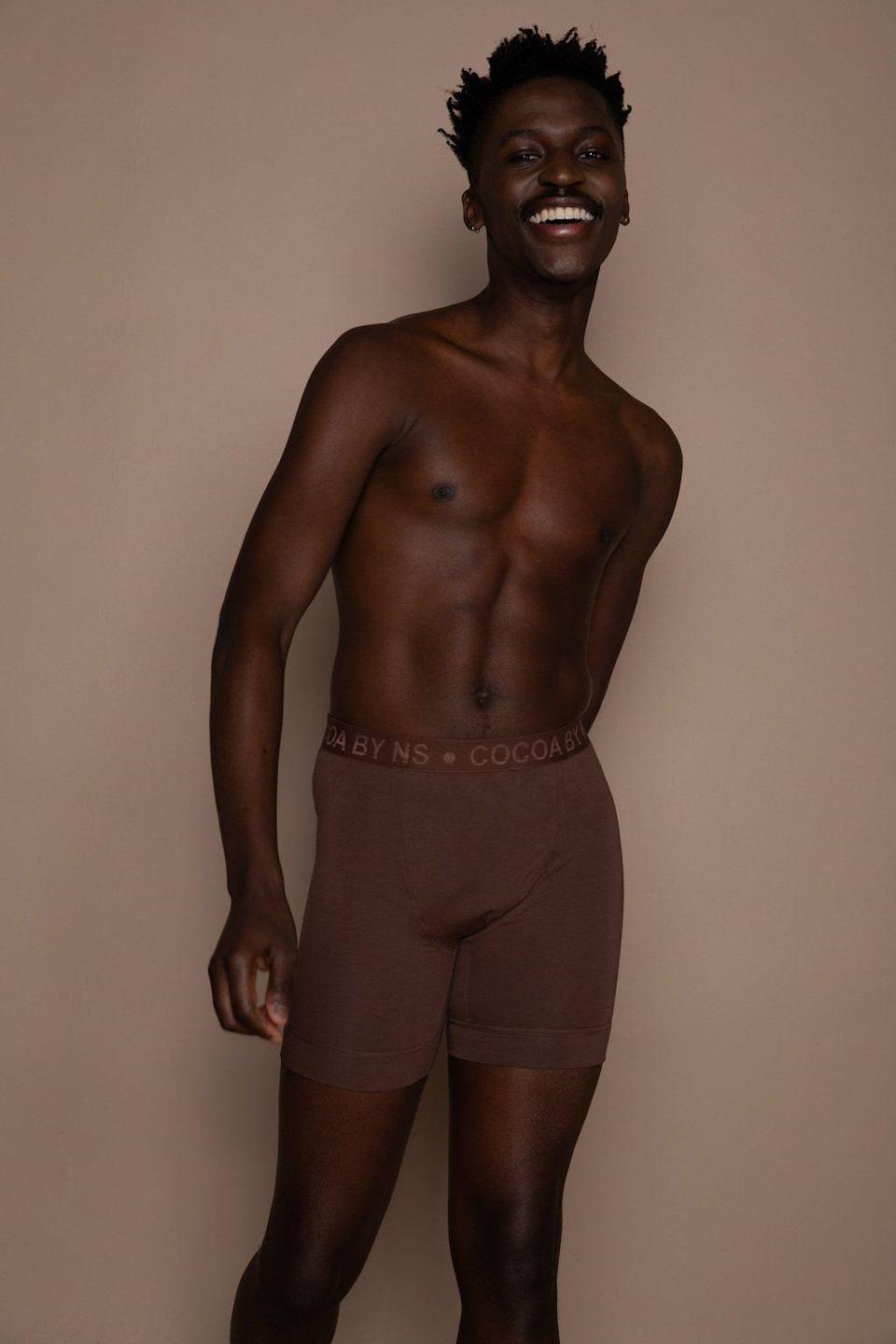 """<p><strong>nubian</strong></p><p>nubianskin.com</p><p><strong>£29.50</strong></p><p><a href=""""https://www.nubianskin.com/collections/menswear/products/mens-boxer-brief?variant=31529255764030"""" rel=""""nofollow noopener"""" target=""""_blank"""" data-ylk=""""slk:BUY IT HERE"""" class=""""link rapid-noclick-resp"""">BUY IT HERE</a></p><p>For men with a darker skin tone, Nubian Skin offers a breathable and super-soft boxer briefs that come in variety of rich brown colors to provide a birthday suit illusion. They're the perfect balance of sexy and comfortable. </p>"""