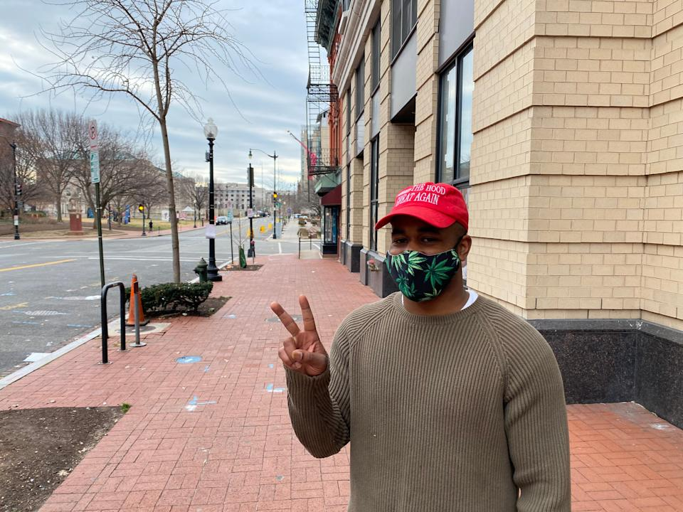 Kenneth McIntyre is one of the few residents of DC out on the streets on the morning before Joe Biden's inaugurationRichard Hall/The Independent