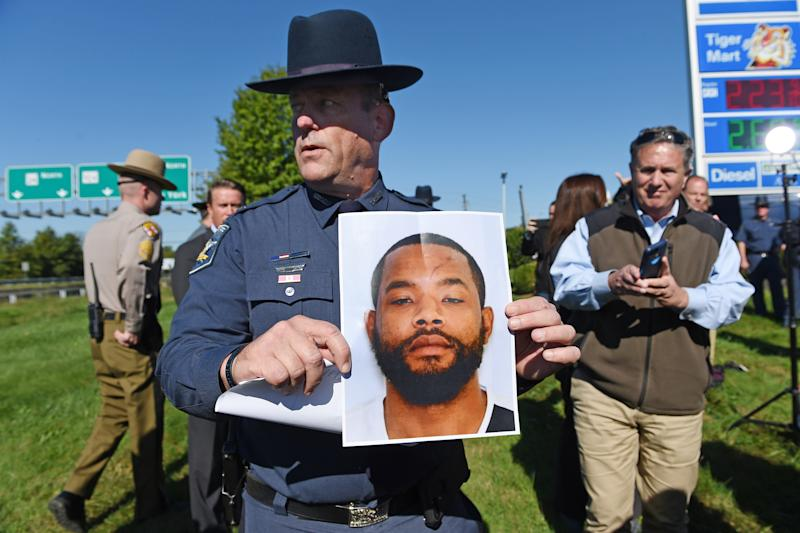 Harford County Sheriff Jeffrey Gahler shared a photograph of the suspect, Radee Prince, during a news conference on Wednesday. (Baltimore Sun via Getty Images)