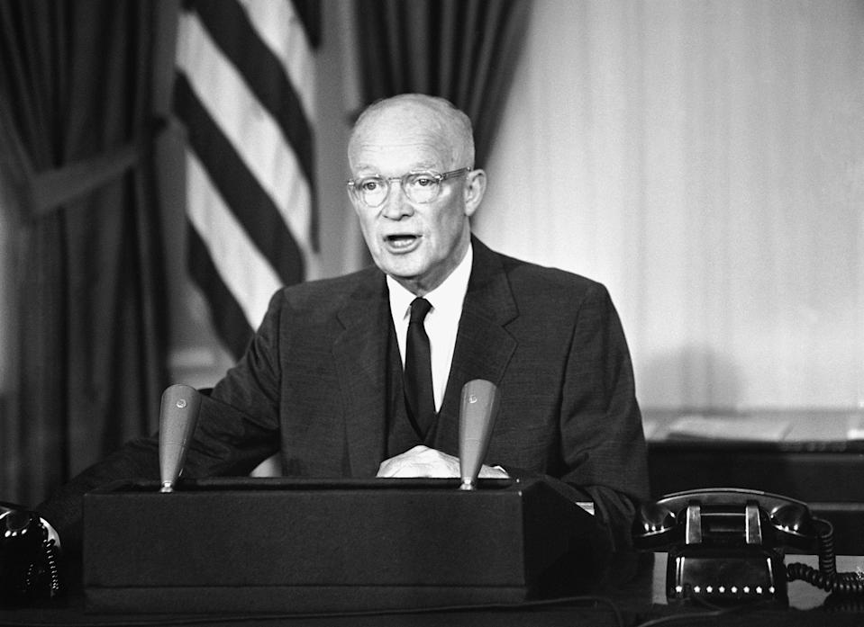 President Dwight D. Eisenhower told a nationwide radio and television audience in 1959 that talks with Nikita Khrushchev could lead to a Big Four summit conference. (Photo: Harvey Georges/AP)