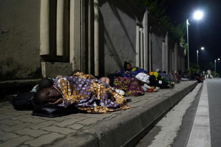 Many families slept on pavements surrounded by their belongings