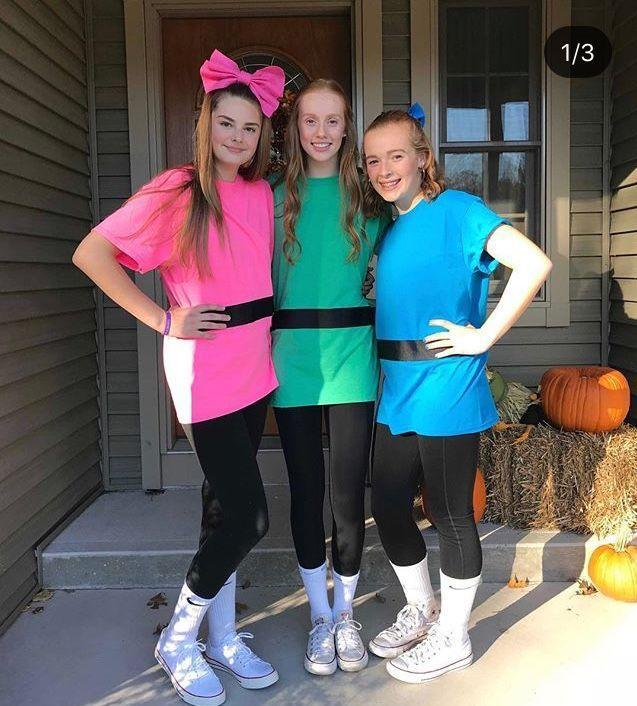 """<p>Want to go as your favorite Powerpuff Girl but need to be able to wear the costume to work or school? An oversized T-shirt paired with black leggings or jeans is your best bet. </p><p><a class=""""link rapid-noclick-resp"""" href=""""https://www.amazon.com/Gildan-Womens-Crewneck-Sleeve-T-Shirt/dp/B016PY6PZS/ref=sr_1_1?tag=syn-yahoo-20&ascsubtag=%5Bartid%7C10050.g.29344983%5Bsrc%7Cyahoo-us"""" rel=""""nofollow noopener"""" target=""""_blank"""" data-ylk=""""slk:SHOP T-SHIRTS"""">SHOP T-SHIRTS</a></p>"""