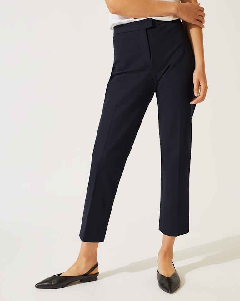"<p><strong></strong></p><p>jigsaw-london.com</p><p><strong>$60.00</strong></p><p><a href=""https://www.jigsaw-london.com/womens/pants/bi-stretch-cigarette-trouser-25521"" target=""_blank"">Shop Now</a></p>Our best-selling bi-stretch trouser in a cigarette leg shape is updated with a new fabrication for Autumn Winter. A slim leg finishing above the ankle, this pair is styled with an extension tab waistband and pressed-in crease through the leg for added detailing."