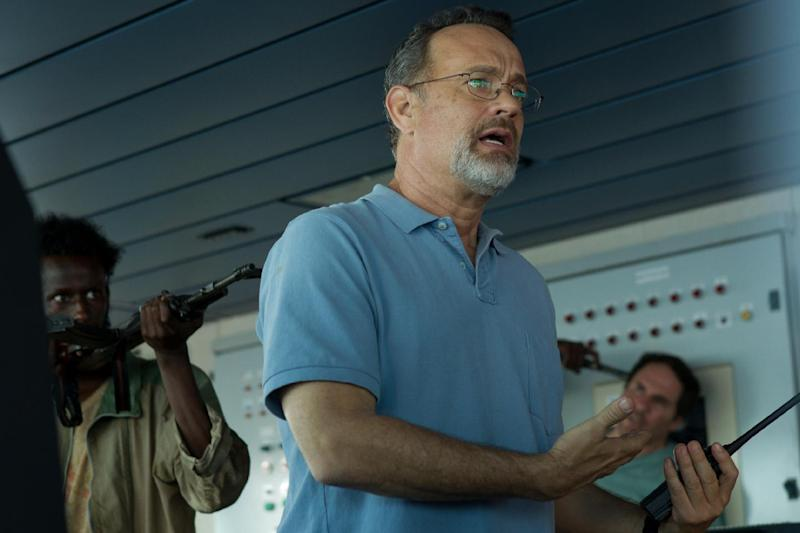 "This photo released by Sony - Columbia Pictures shows actor Tom Hanks in a scene from the film, ""Captain Phillips,"" releasing in the US on Friday, Oct. 11, 2013. Some amateur actors from Minneapolis made their film debut acting alongside the two-time Academy Award winner, Hanks. The four actors of Somali descent appear as Somali pirates in ""Captain Phillips,"" which stars Hanks as the captain of a cargo ship hijacked off the Horn of Africa in 2009. (AP Photo/Copyright Sony - Columbia Pictures, Hopper Stone, SMPSP)"