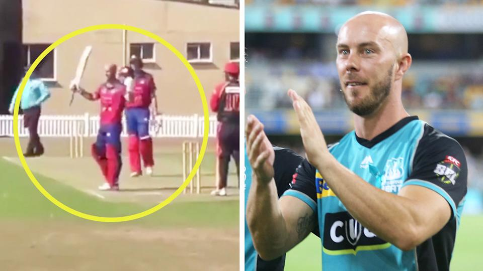 Chris Lynn (pictured left) raising his bat after a century in the state's premier T20 comp and him applauding at a Brisbane Heat match (pictured right).
