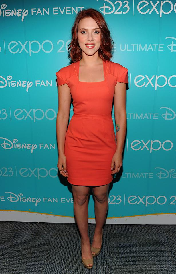 "<a href=""http://movies.yahoo.com/movie/contributor/1800022348"">Scarlett Johansson</a> from Marvel's ""The Avengers"" attends Disney's D23 Expo held at the Anaheim Convention Center on August 20, 2011 in Anaheim, California."