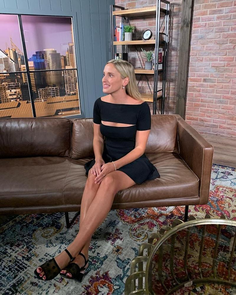 A photo of SkinnyMe Tea founder Gretta van Riel in the studio of Yahoo Finance as she reveals her business journey.