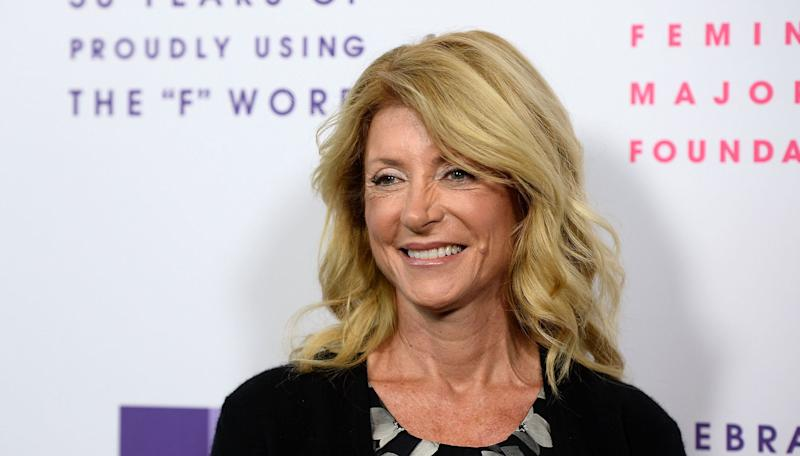 Wendy Davis arrives at the Feminist Majority Foundation 30th Anniversary party in Los Angeles in May.