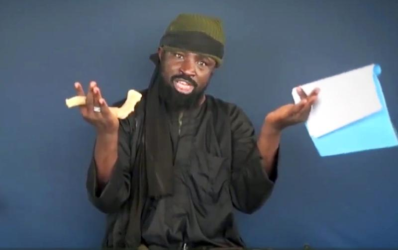 This screen grab image taken on February 18, 2015 from a video made available by Islamist group Boko Haram shows Boko Haram leader Abubakar Shekau making a statement at an undisclosed location