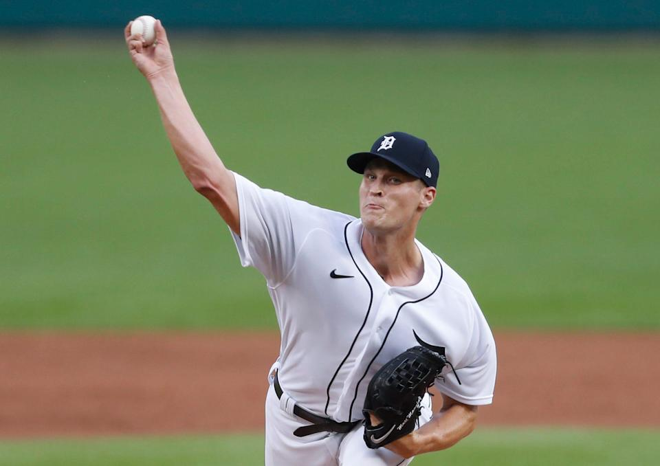 Tigers pitcher Matt Manning throws against the White Sox during the second inning on Monday, Sept. 20, 2021, at Comerica Park.
