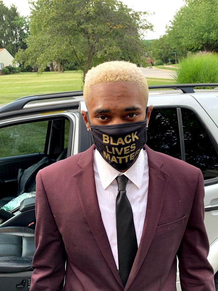 """Dean Holmes wear a mask with the words, """"Black Lives Matter"""" displayed. It is the same mask he was asked to remove at his York Catholic graduation ceremony on July 28."""