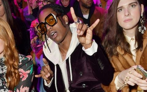 <span>ASAP Rocky, front row at Gucci's Autumn/Winter 2017 show, in Milan in February 2017</span>