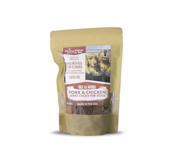 """<p><strong>Shiny Paw</strong></p><p>shinypaw.com</p><p><strong>$16.00</strong></p><p><a href=""""https://www.shinypaw.com/collections/tasty-healthy-treats/products/pork-chicken-jerky-sticks-for-dogs"""" rel=""""nofollow noopener"""" target=""""_blank"""" data-ylk=""""slk:BUY NOW"""" class=""""link rapid-noclick-resp"""">BUY NOW</a></p><p>These treats are not only delicious (say our Digital Director's dogs), but they're also free of fillers, grains, preservatives, additives, gluten, and GMOs. You're promised pork and chicken and that's exactly what you get. </p>"""