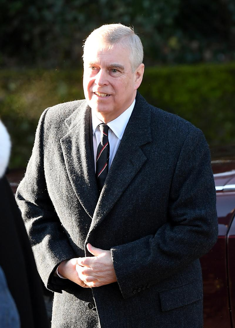 Prince Andrew, Duke of York attends church in Hillington at St Mary the Virgin church in Sandringham on January 19, 2020 in King's Lynn, England. (Photo by Karwai Tang/WireImage)