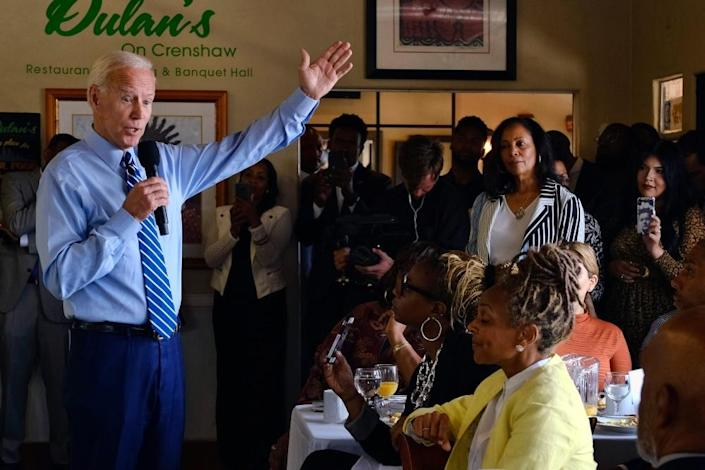 Democratic presidential candidate former Vice President Joe Biden speaks to community faith leaders after serving up breakfast during a visit to Dulan's soul food on Crenshaw, Thursday, July 18,2019 in Los Angeles. Biden spoke to black pastors and community leaders at Dulan's on Crenshaw sole food restaurant during a campaign tip to Los Angeles. He said Trump is ripping apart the country's social fabric and that Democrats must defeat him, regardless of whether Biden is the party's nominee or not. (AP Photo/Richard Vogel) thegrio.com