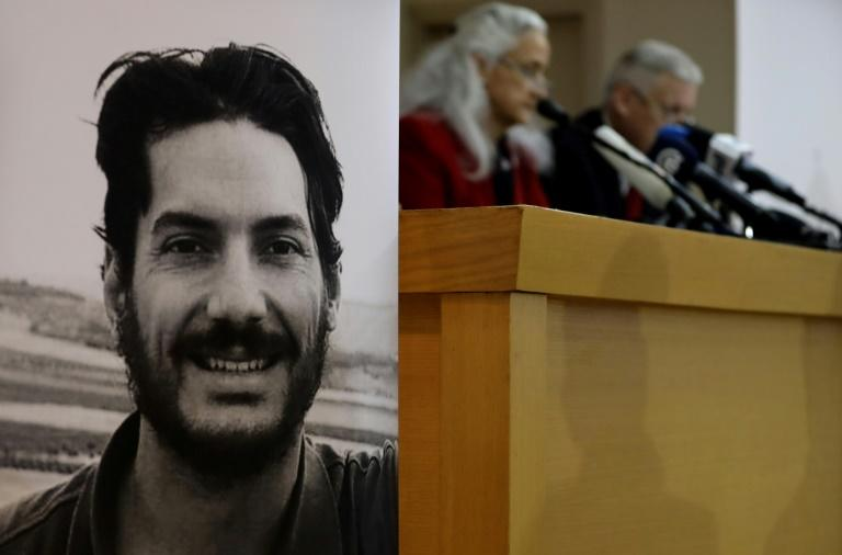 Marc and Debra Tice, the parents of US journalist Austin Tice (portrait), who was abducted in Syria in 2012, are seen at a press conference in the Lebanese capital Beirut on December 4, 2018