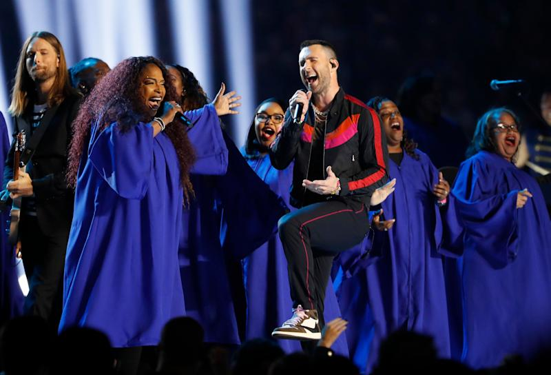 Maroon 5 singer Adam Levine on stage at the Super Bowl halftime show on Sunday. (Photo: Reuters)