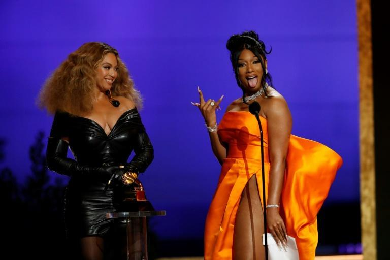 """Beyonce (L) -- seen here with and Megan Thee Stallion as they accepted the Grammy for Best Rap Performance for """"Savage"""" -- made history with her wins"""