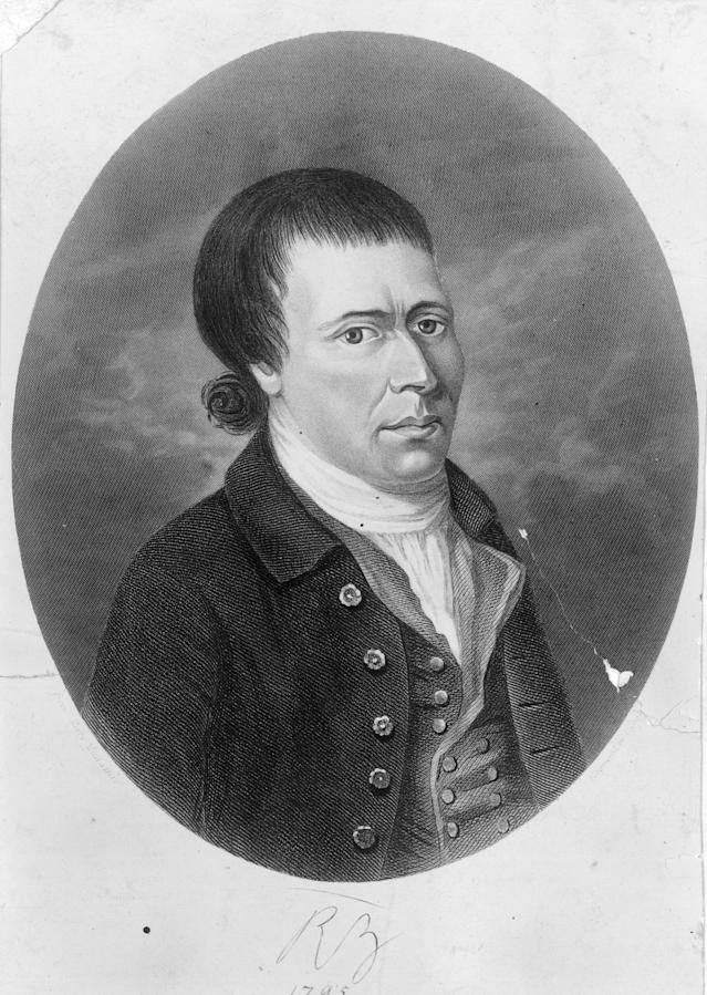 circa 1795: Scottish poet and writer of traditional Scottish folk songs Robert Burns (1759 - 1796). (Photo by Hulton Archive/Getty Images)