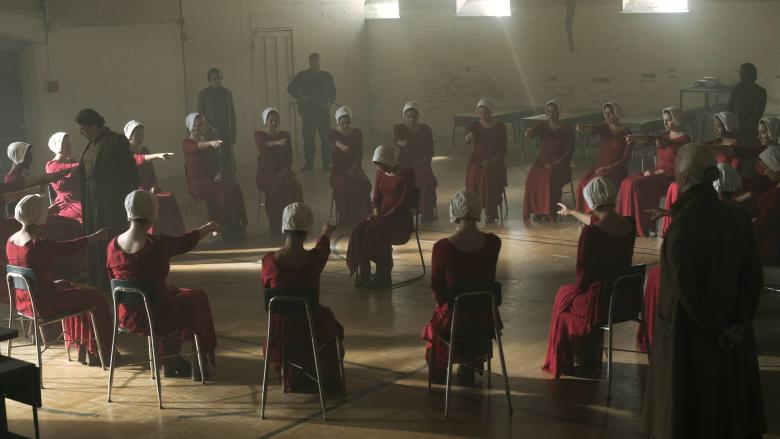 """THE HANDMAID'S TALE -- """"Offred"""" - Episode 101 - Offred, one the few fertile women known as Handmaids in the oppressive Republic of Gilead, struggles to survive as a reproductive surrogate for a powerful Commander and his resentful wife. (Photo by: George Kraychyk/Hulu)"""