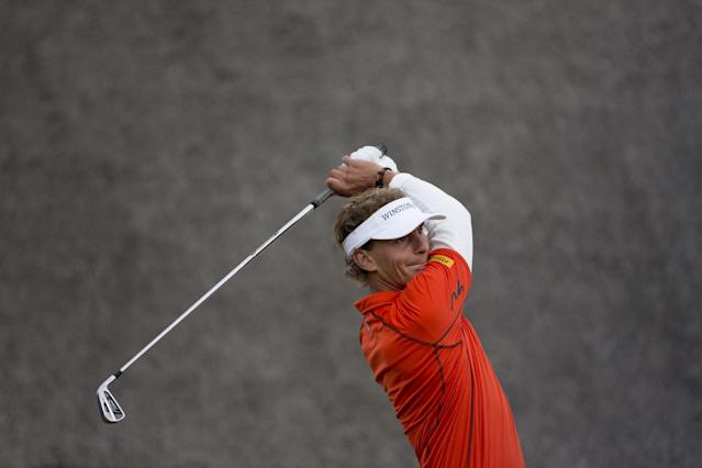Netherlands' Joost Luiten tees off on hole one during the final round of the KLM Open men's golf tournament in the beach resort of Zandvoort, western Netherlands, Sunday, Sept. 15, 2013. (AP Photo/Peter Dejong)