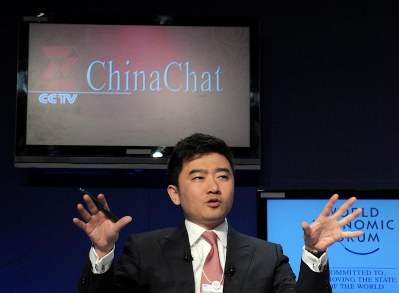 Rui Chenggang speaks during a CCTV televised debate at the World Economic Forum on January 29, 2010 in Davos