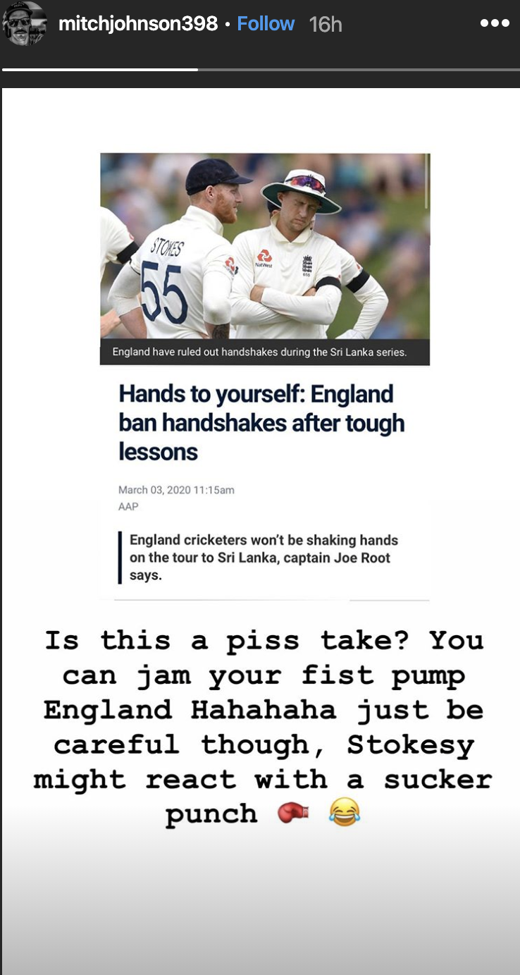 A screenshot of Mitchell Johnson's Instagram story, pictured, captured his sly dig at England all-round Ben Stokes.