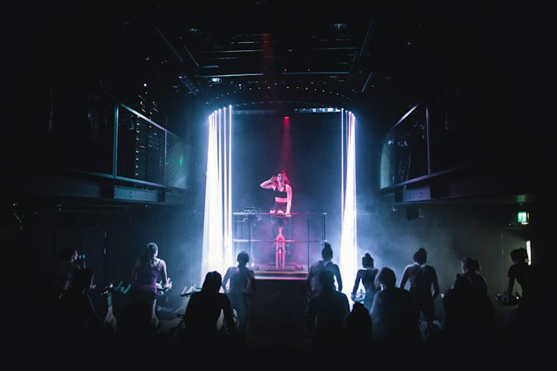 Helluva ride: 1 Rebel's Victoria studio features 3D surround sound and a laser system to make you feel like a rock star as you pedal to those big pop hits (1 Rebel)