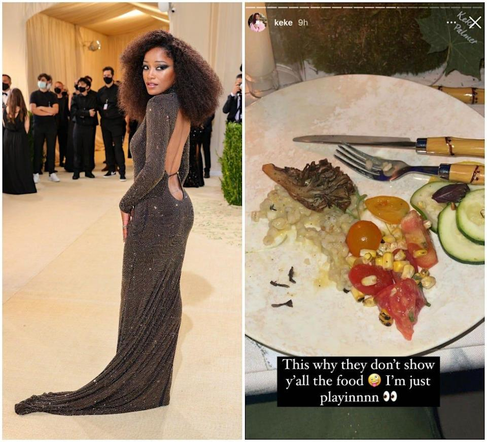 Keke Palmer pictured on the Met Gala 2021 red carpet (left) and a screenshot of her food (right).